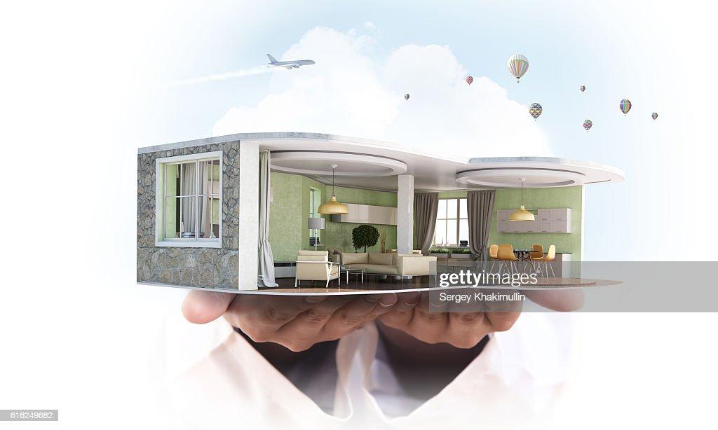 Realize your interior dream . Mixed media : Foto de stock