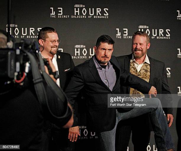 Reallife Benghazi security contractors John 'Tig' Tiegan Kris 'Tanto' Paronto center and Mark 'Oz' Geist have fun on the red carpet with...