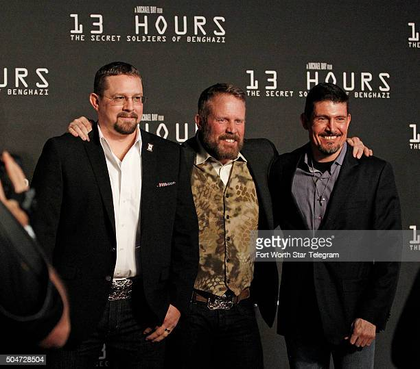 Reallife Benghazi security contractors John 'Tig' Tiegan Mark 'Oz' Geist and Kris 'Tanto' Paronto have fun on the red carpet with photographers...