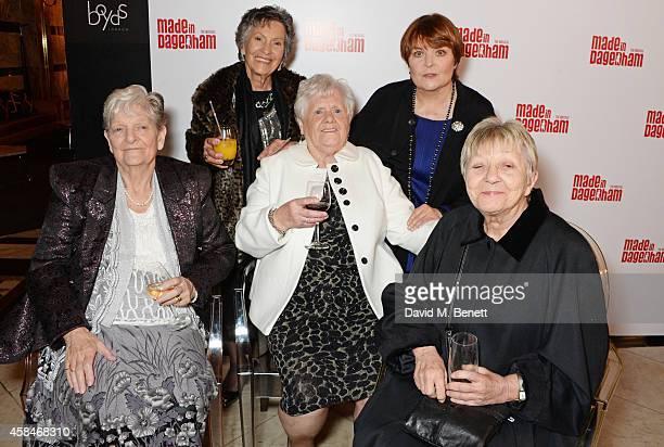 Reallife Dagenham strikers Eileen Pullen Gwen Davis Vera Simem cast member Isla Blair and Sheila Douglass attend an after party following the press...