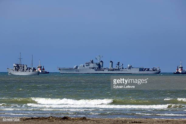 Reallife naval destroyers at sea being used on Christopher Nolan's new film 'Dunkirk' on May 26 2016 in Dunkerque France