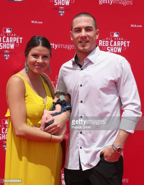 T Realmuto of the Miami Marlins and the National League and guests attend the 89th MLB AllStar Game presented by MasterCard red carpet at Nationals...