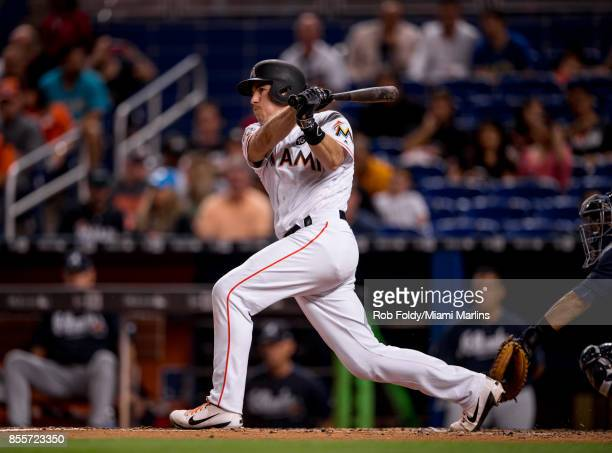 T Realmuto of the Miami Marlins at bat during the game against the Atlanta Braves at Marlins Park on September 29 2017 in Miami Florida