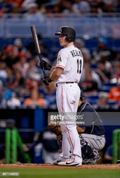 T Realmuto of the Miami Marlins at bat during the game against the Atlanta Braves at Marlins Park on October 1 2017 in Miami Florida