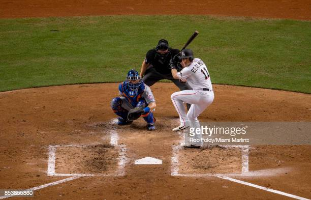 T Realmuto of the Miami Marlins at bat during the game against the New York Mets at Marlins Park on September 19 2017 in Miami Florida