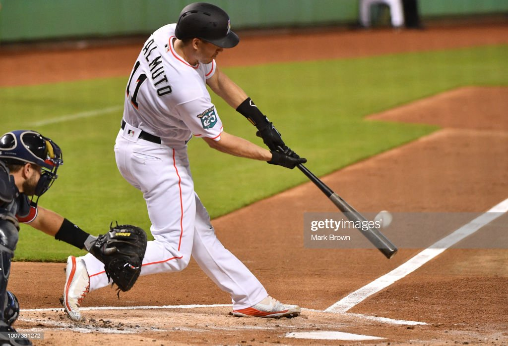 J.T. Realmuto #11 of the Miami Marlins at bat in the first inning against the Washington Nationals at Marlins Park on July 29, 2018 in Miami, Florida.