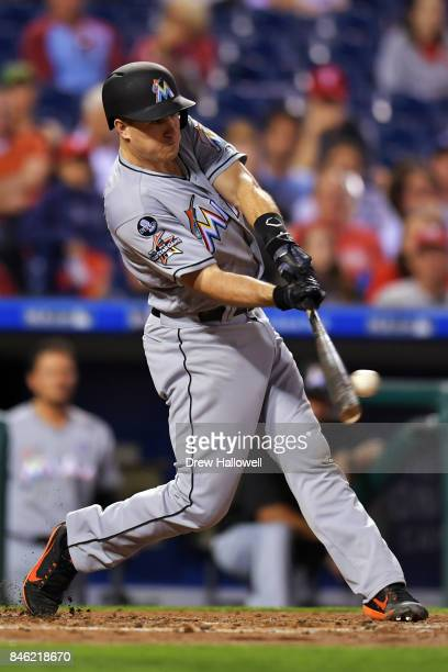 T Realmuto of the Miami Marlins hits a one run double in the second inning against the Philadelphia Phillies at Citizens Bank Park on September 12...