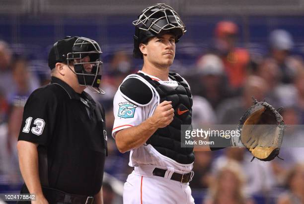 T Realmuto of the Miami Marlins in action against the New York Yankees at Marlins Park on August 21 2018 in Miami Florida