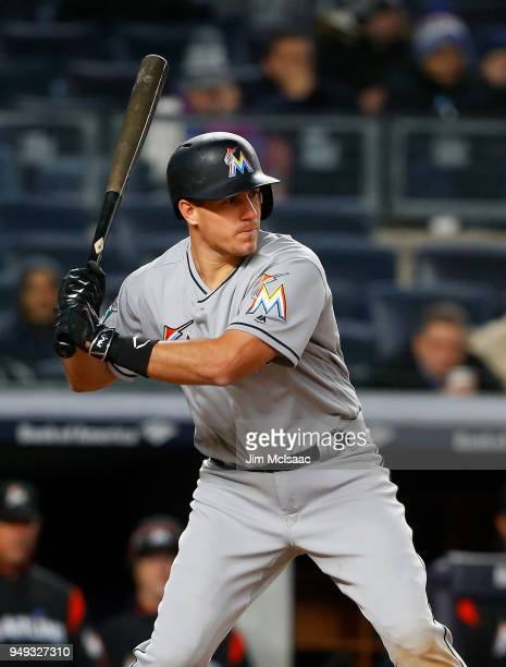 JT Realmuto of the Miami Marlins in action against the New York Yankees at Yankee Stadium on April 17 2018 in the Bronx borough of New York City The...