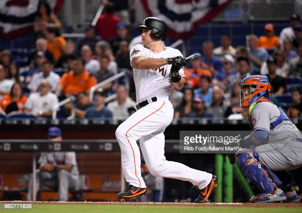 T Realmuto of the Miami Marlins in action at bat during the game against the New York Mets at Marlins Park on April 14 2017 in Miami Florida