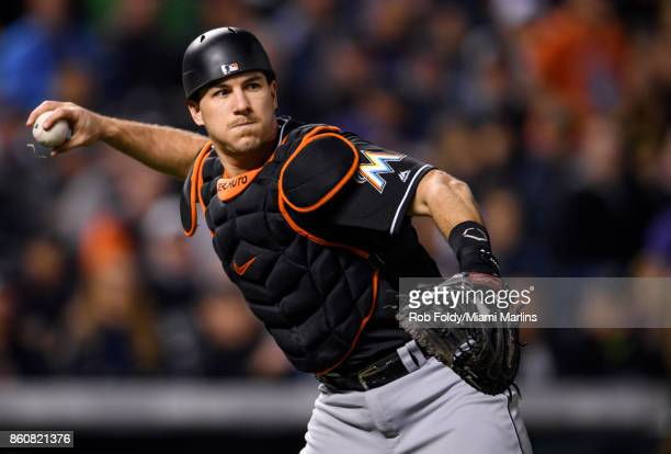 T Realmuto of the Miami Marlins in action during the game against the Colorado Rockies at Coors Field on September 26 2017 in Denver Colorado