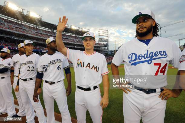 T Realmuto of the Miami Marlins is introduced ahead of the 89th MLB AllStar Game at Nationals Park on Tuesday July 17 2018 in Washington DC
