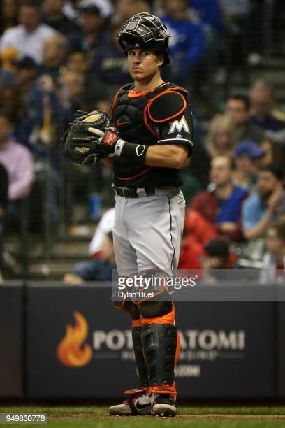 T Realmuto of the Miami Marlins looks on in the sixth inning against the Milwaukee Brewers at Miller Park on April 20 2018 in Milwaukee Wisconsin JT...