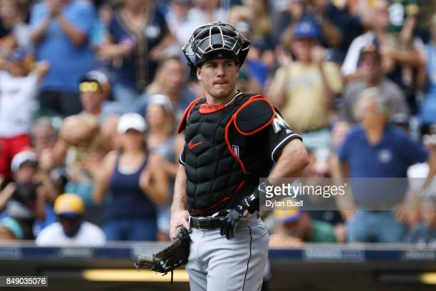 T Realmuto of the Miami Marlins looks to the dugout in the fourth inning against the Milwaukee Brewers at Miller Park on September 17 2017 in...