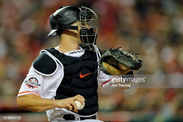 T Realmuto of the Miami Marlins throws during the 89th MLB AllStar Game at Nationals Park on Tuesday July 17 2018 in Washington DC