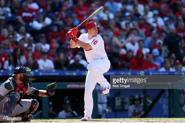 T Realmuto of the Philadelphia Phillies bats during the game between the Atlanta Braves and the Philadelphia Phillies at Citizens Bank Park on...