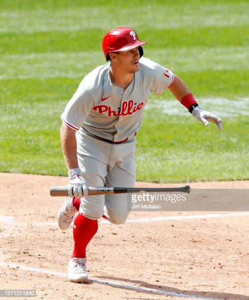 Realmuto of the Philadelphia Phillies follows through on his fifth inning home run against the New York Mets at Citi Field on September 07, 2020 in...
