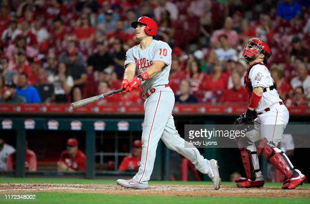 Realmuto of the Philadelphia Phillies hits a two run home run in the 5th inning against the Cincinnati Reds at Great American Ball Park on September...