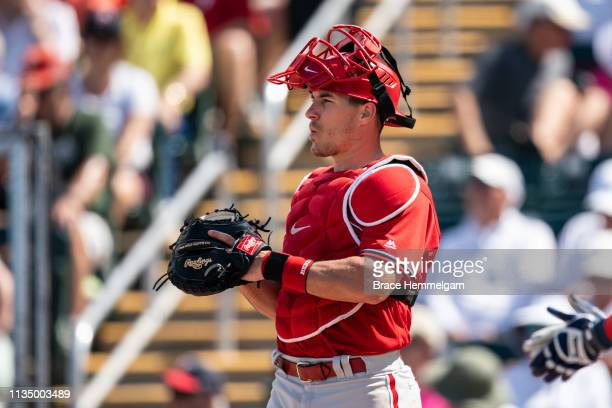 T Realmuto of the Philadelphia Phillies looks on during a spring training game against the Minnesota Twins on March 3 2019 at Hammond Stadium in Fort...