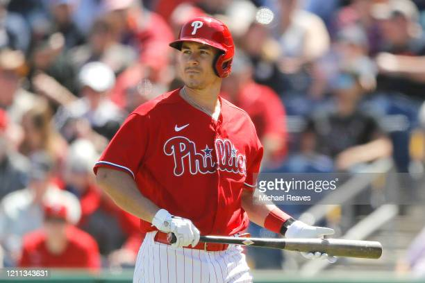 Realmuto of the Philadelphia Phillies reacts after striking out against the Boston Red Soxof a Grapefruit League spring training game on March 07,...