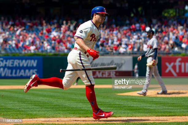 Realmuto of the Philadelphia Phillies rounds the bases after hitting a grand slam in the bottom of the fifth inning against the Atlanta Braves at...