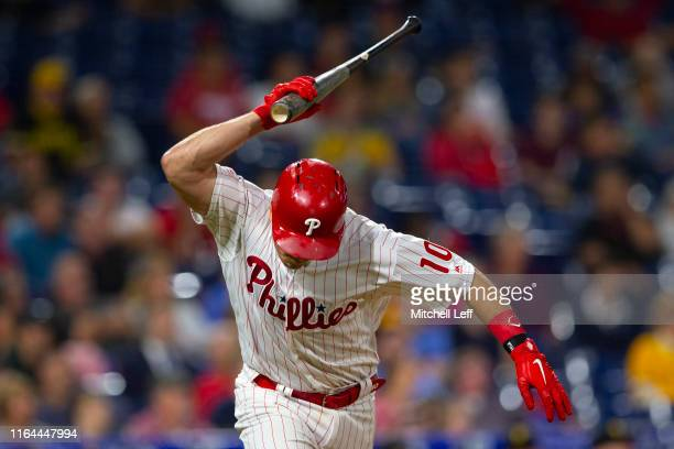 Realmuto of the Philadelphia Phillies slams his bat after flying out in the bottom of the ninth inning against the Pittsburgh Pirates at Citizens...