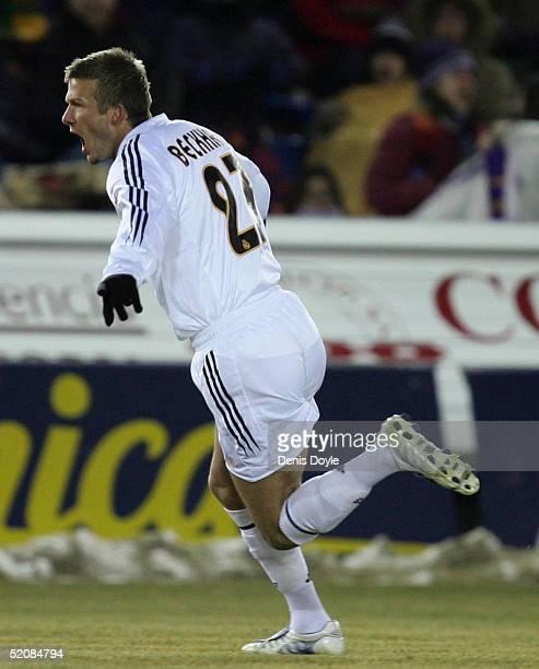 Real?s David Beckham celebrates after he scored a goal during a Numancia v Real Madrid Primera Liga soccer match at Los Pajaritos stadium on January...