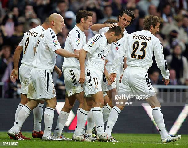 Real's Michael Owen celebrates after scoring a goal during a Primera Liga soccer match between Real Madrid and Barcelona at the Bernabeu on April 10...