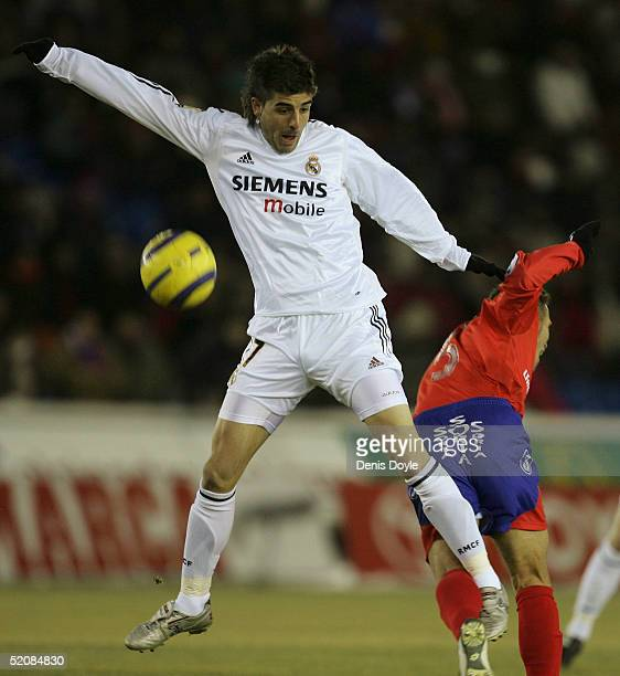 Real?s Portillo gets the better of Numancia?s Jesus Velasco during a Numancia v Real Madrid Primera Liga soccer match at Los Pajaritos stadium on...