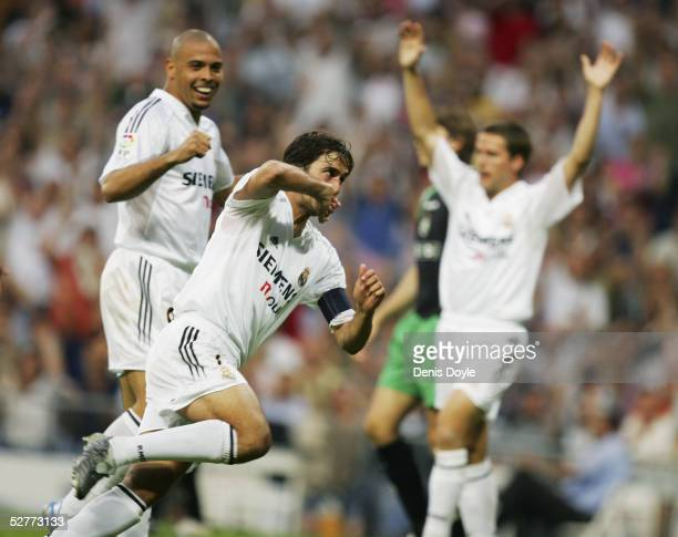 Real's Raul celebrates after scoring during the La Liga match between Real Madrid and Racing de Santander at the Bernabeu on May 7 2005 in Madrid...