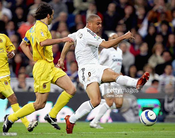 Real`s Ronaldo shoots at goal during a La Liga soccer match between Real Madrid and Villarreal at the Bernabeu on April 23 2005 in Madrid Spain