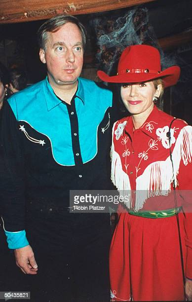 Realtor Robert Trump w wife Blaine dressed up western style at Halloween on the Green AIDS fundraiser hosted by HIVpositive exbasketball star Magic...