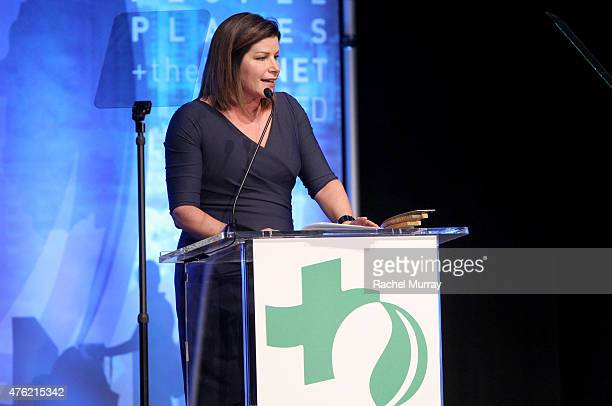 Realty Award honoree Sarah Shaw speaks onstage during the Global Green USA 19th Annual Millennium Awards on June 6 2015 in Century City California