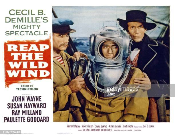 Reap The Wild Wind US lobbycard from left victor Varconi John Wayne Raymond Massey 1942