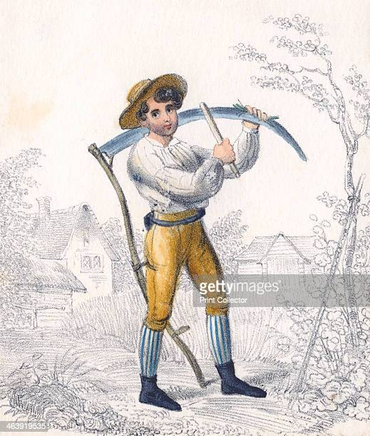 Reaper/haymaker sharpening his scythe with a whetstone 19th century Metal edged tools such as this needed constant sharpening The whetstone was also...