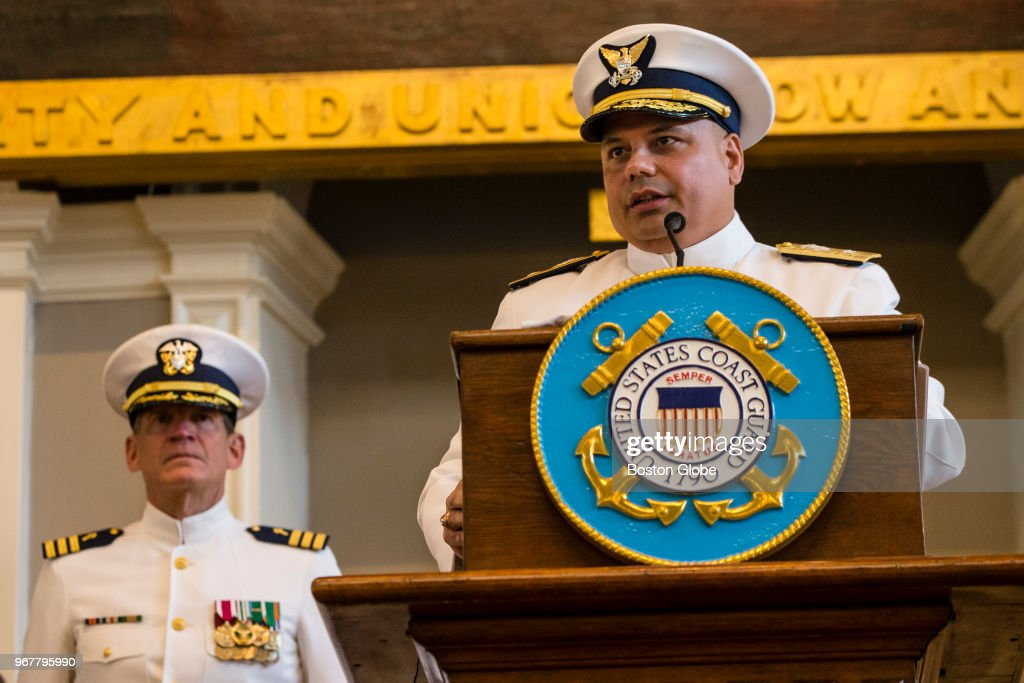 Rear Admiral Andrew Tiongson speaks during a change of command... News Photo - Getty Images