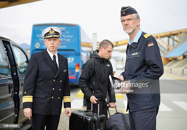 Rear Admiral HorstDieter Kolletschke leader of the commission that is investigating incidents on the German Navy tall ship Gorch Fock arrives at the...