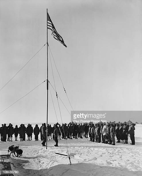 Rear Admiral Richard E Byrd addresses his men at a flagraising ceremony at the Antarctic research base Little America IV on the Ross Ice Shelf 17th...