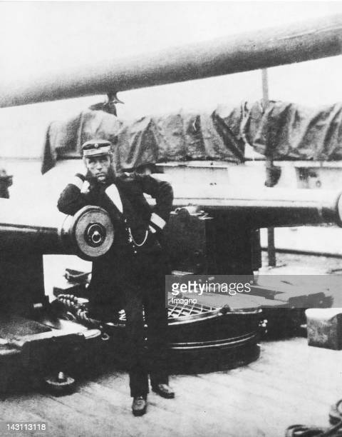 Rear admiral Wilhelm von Tegetthoff on his flagship 'Schwarzenberg' after the Seabattle of Helgoland on May 9th 1864 Photograph by C Jounod