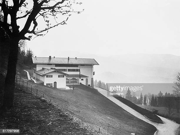 A rear and side perspective of Adolf Hitler's mountain home Berghof in Berchtesgaden located in the Bavarian Alps of Germany