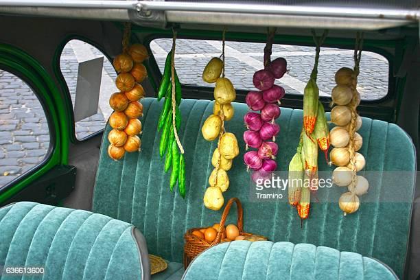 Rear car seat in the classic Citroen 2CV