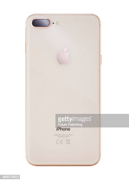 Rear detail of a 2017 Apple iPhone 8 smartphone with a Gold finish taken on September 28 2017