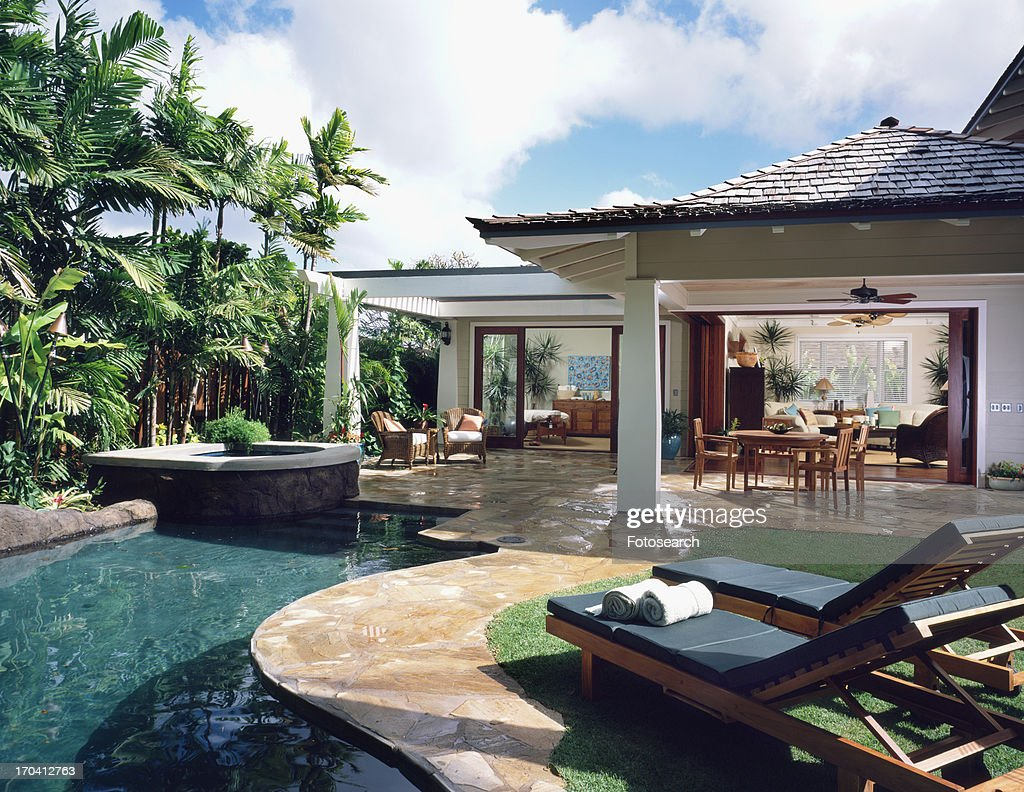 Rear Exterior and Swimming Pool of Contemporary Home : Stock Photo