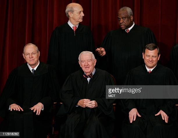Justice Stephen Breyer Justice Clarence Thomas Front Justice Anthony Kennedy Justice John Paul Stevens Chief Justice John Roberts Jr during the 2006...