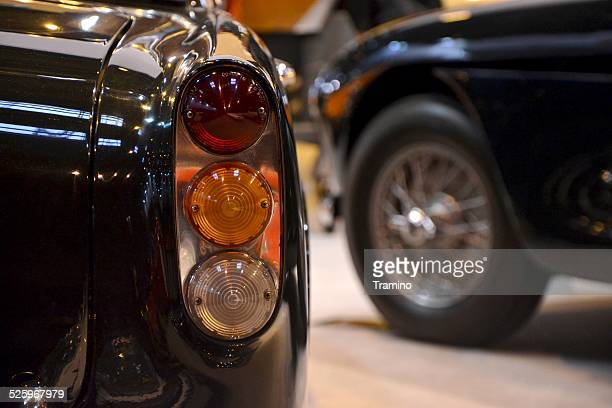 Rear lamp of Aston Martin at the classic car show