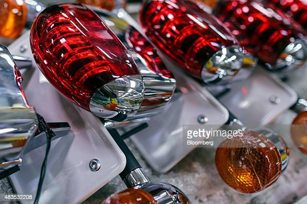 Rear light assemblies for the Royal Enfield Motors Ltd. Classic 350 motorcycle sits on the production line at the company's manufacturing facility in...