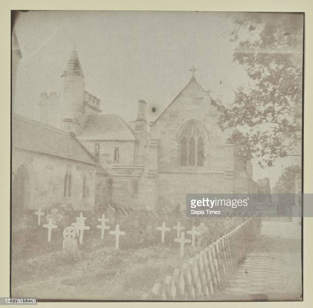 Rear of a Church with Graveyard; Hippolyte Bayard ; about 1840 - 1849; Salted paper print; 17.6 x 17.9 cm .