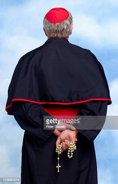 rear of roman catholic cardinal - katholicisme stockfoto's en -beelden