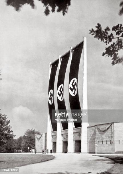 Rear of the Grand Stand for National Socialist Party Congresses Nuremberg Germany 1936 The back of the grandstand at the Zeppelinfeld stadium...