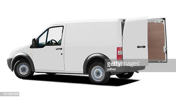 Rear of white van with doors open on white